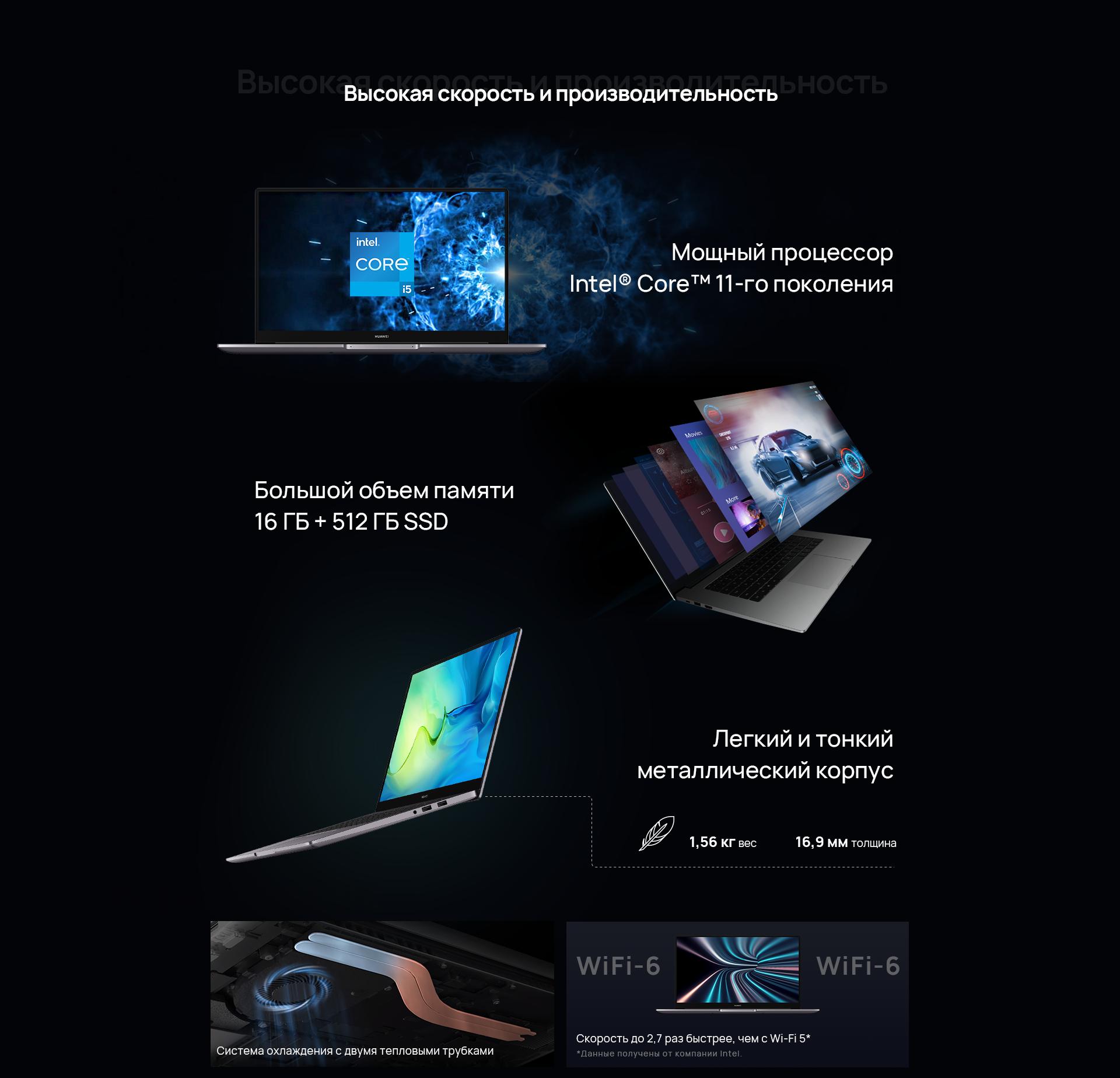 Huawei matebook Высокая скорость и производительность